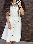 Коттоновая летняя юбка миди с пуговицами и резинкой на талии vN8777, фото 2