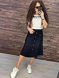 Коттоновая летняя юбка миди с пуговицами и резинкой на талии vN8777, фото 6