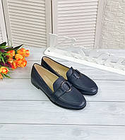 Сині шкіряні туфлі - лофери, фото 1