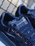 🔥 Кроссовки кеды женские Alexander McQueen Patent Blue (александер макквин) синие лаковые, фото 9