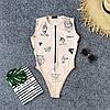 Принтованное Женские боди с молнией на груди без рукава 66mkp405Q