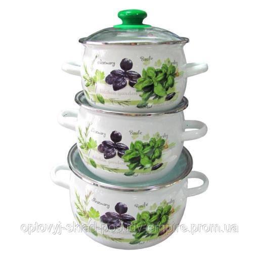 Набір емаль посуду каструлі 3шт 3,5 л, 2,5 л, 1,5 л Зелений фреш арт.6928