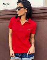 Женская футболка поло с рубашечным воротником и эмблемой на груди 55mfu316, фото 1