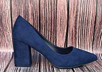 Женские туфли на широком каблуке в темно синем цвете