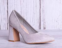 Женские туфли на широком каблуке в сером цвете