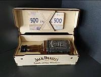 Шкатулка деревянная, конверт для денег из дерева Jack Daniels (с бутылочкой 50мл)