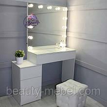 Гримерный стол для визажиста с центральным ящиком и тумбой, цвет - белый