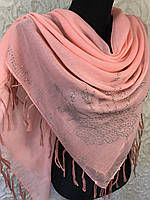 Большой персиковый платок хлопковый со стразами (цв.01)