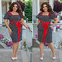 Женское летнее платье в горошек батал с 48 по 58 рр ткань софт