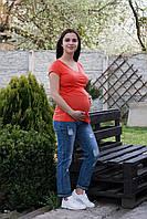 8304 Кофта на запах  с V вырезом для беременных красная, фото 1