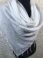 Большой белый платок хлопковый со стразами (цв.03)