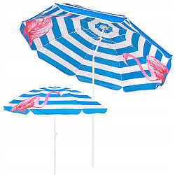 Пляжный зонт с регулируемой высотой и наклоном Springos 180 см BU0013 зонтик для пляжа и сада с рисунком
