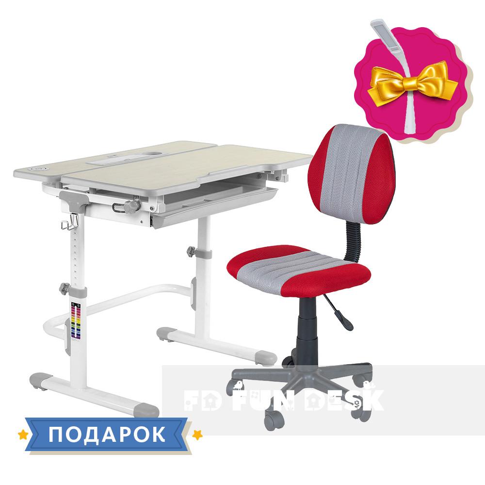 Комплект растущая парта для дома FunDesk Lavoro L Grey+детское кресло FunDesk LST4 Red-Grey