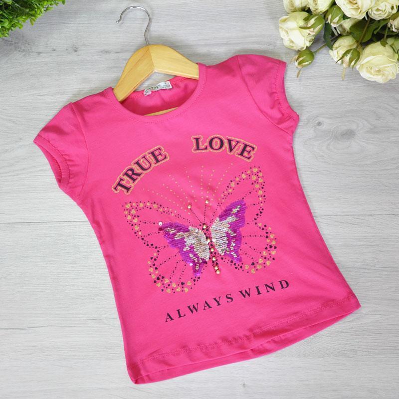 Детская футболка из трикотажа, для девочек 1-4 года (4 ед. в уп)