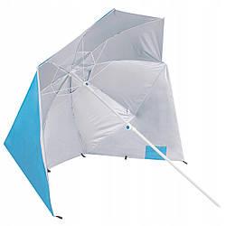 Пляжный зонт-тент 2 в 1 Springos XXL BU0014 зонтик для пляжа и сада голубого цвета