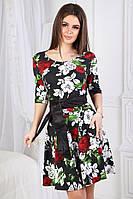 Летнее яркое трикотажное цветное платье с кожаным пояском (р.42-44). Арт-9998/0