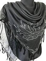 Большой хлопковый черный платок со стразами (цв.02)