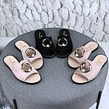 Женские шлепки шлепанцы с декорированным вырезом с кольца и бусинкой, фото 2