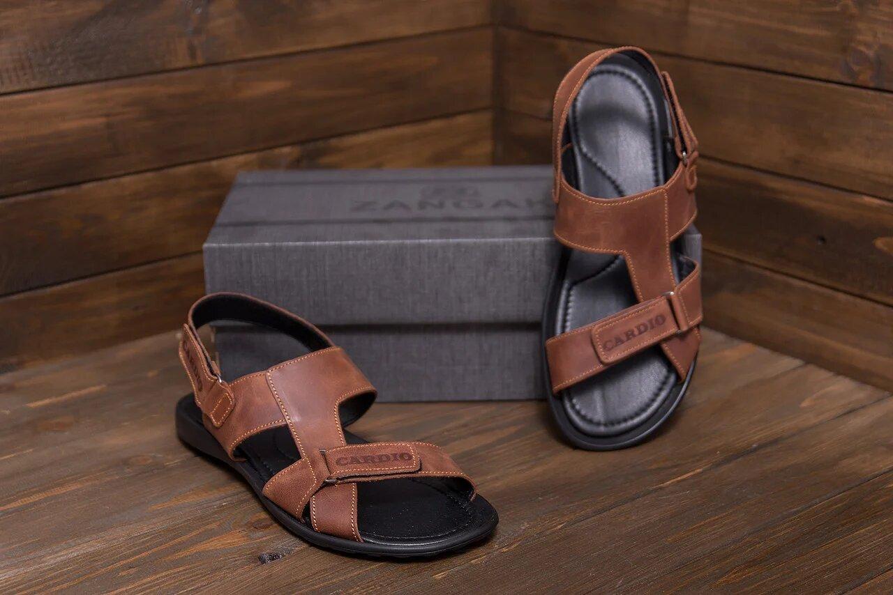 Мужские кожаные сандалии в стиле CARDIO Brown ПК-320р Card