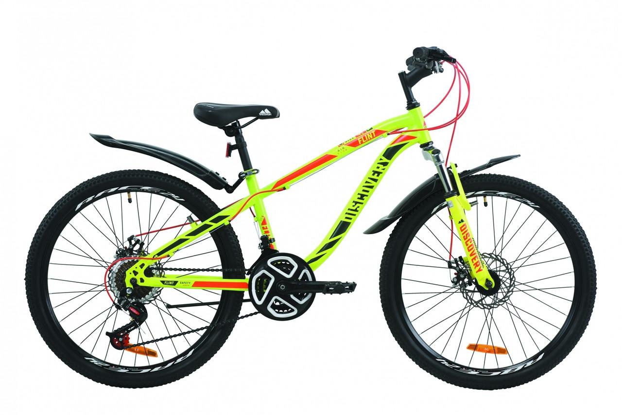 """Велосипед подростковый горный 24"""" Discovery Flint AM DD 2020 салатово-красный дисковые тормоза"""