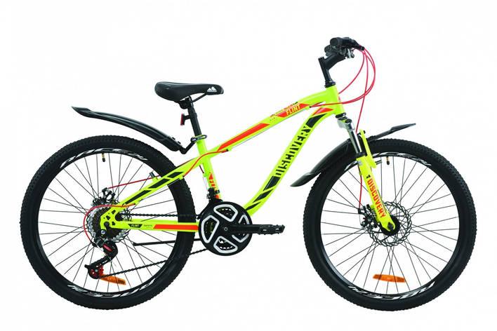 """Велосипед подростковый горный 24"""" Discovery Flint AM DD 2020 салатово-красный дисковые тормоза, фото 2"""