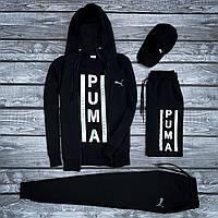 Спортивный костюм мужской модный Puma черный весна лето. Живое фото. Чоловічий спортивний костюм модный