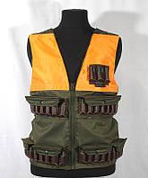 Жилет охотника с патронташем ZSO 12к Хаки регулируемый (725707-POL) с накладками оранж.
