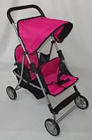 Коляска летняя двухместная для куклы 9618  цвет розовый кк