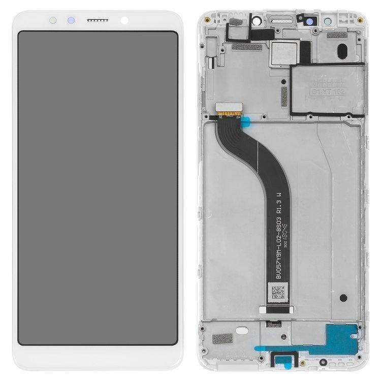 Дисплей (экран) для Xiaomi Redmi 5 с сенсором (тачскрином) и рамкой белый Оригинал