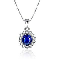 Модное женское колье с синим камнем Принцессы Дианы покрытие белое золото