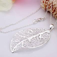 """Кулон ажурний жіночий у вигляді листочка """"Осінній лист"""" покриття срібло, фото 3"""