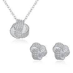 Жіночий комплект біжутерії (кольє, сережки) Сплетіння покриття срібло 925