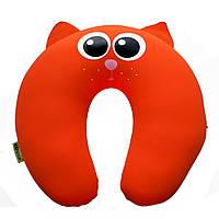 Мягкая развивающая интерьерная игрушка подголовник антистресс Кот красный Kortex