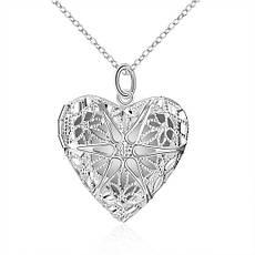 """Кулон женский открывающийся в виде сердца """"Воздушное сердце II"""" покрытие серебро, фото 3"""