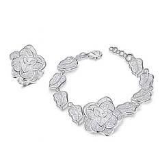 Жіночий комплект біжутерії (кільце, браслет) квіти Троянди покриття срібло 925