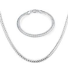 Чоловічий комплект біжутерії (ланцюжок, браслет) Змійка покриття срібло 925