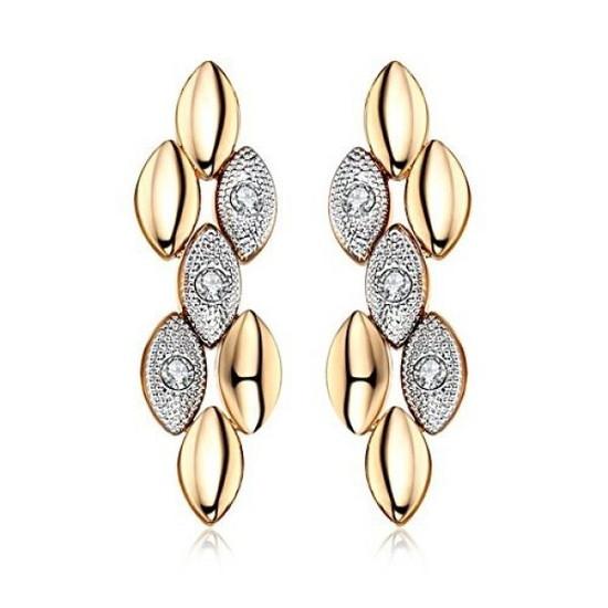 Сережки жіночі позолочені модні з кристалами Сваровські