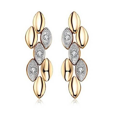 Сережки жіночі позолочені модні з кристалами Сваровські, фото 2