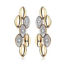 Серьги женские позолоченные модные с кристаллами Сваровски