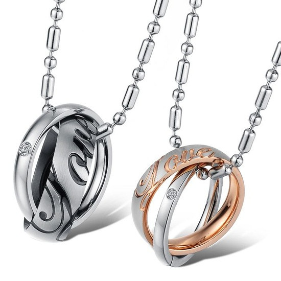 Парные кулоны кольца на цепочке для двоих влюбленных медицинская сталь позолота гравировка love (любовь)