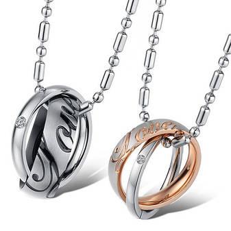 Парные кулоны кольца на цепочке для двоих влюбленных медицинская сталь позолота гравировка love (любовь), фото 2