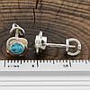 Серебряные серьги гвоздики с золотом размер 7х7 мм вставка аквамариновые фианиты вес 1.79 г, фото 3