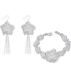 Жіночий комплект біжутерії (сережки, браслет) квіти Троянди покриття срібло 925