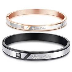 """Парні браслети для двох закоханих медична сталь позолота гравірування """"Справжня любов"""""""