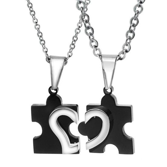 Парные кулоны пазлы для двоих влюбленных черные медицинская сталь половинки сердца