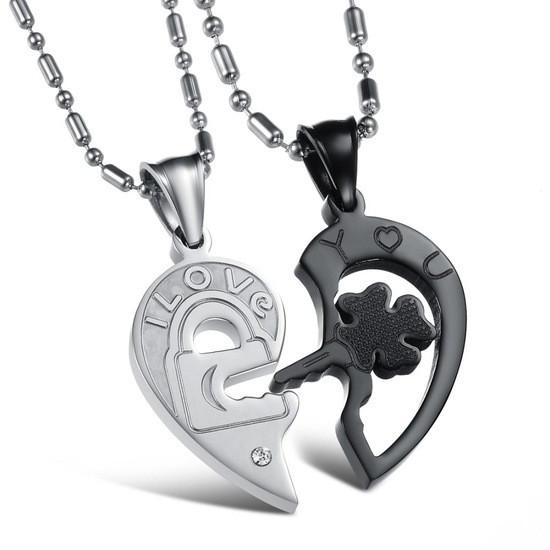 Парні кулони для двох закоханих половинки серця медична сталь гравірування i love you (я люблю тебе)