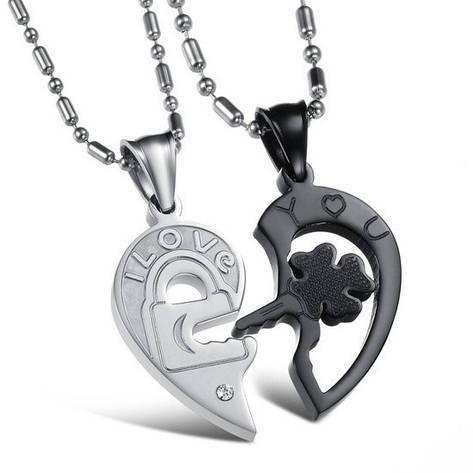 Парні кулони для двох закоханих половинки серця медична сталь гравірування i love you (я люблю тебе), фото 2