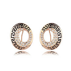 Маленькие стильные женские сережки с греческим арнаментом позолота 18К