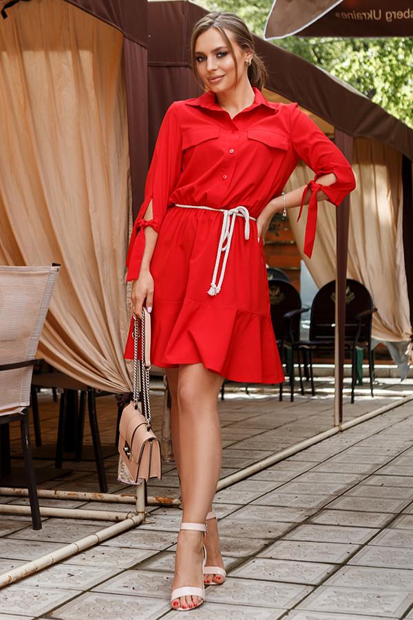 Червона сукня-сорочка з воланом 44,46,48 р.