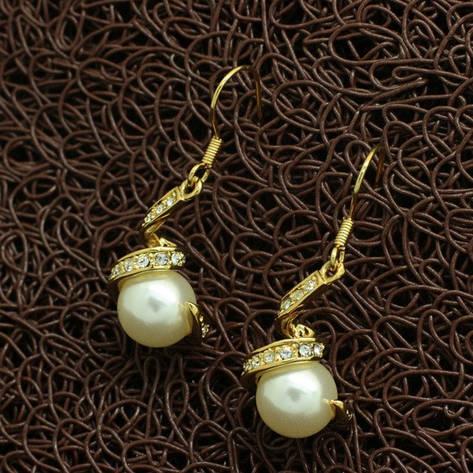 """Сережки жіночі з перлами """"Мілена"""" позолота 18К, фото 2"""